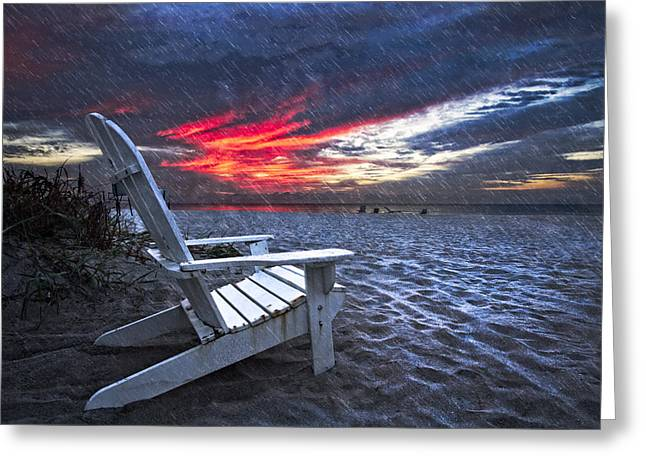 Lounge Photographs Greeting Cards - ThunderDawn Greeting Card by Debra and Dave Vanderlaan