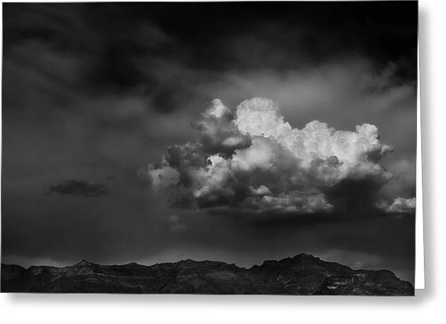 Olympus Greeting Cards - Thunderhead Over Superstition Mountain Greeting Card by Jesse Castellano