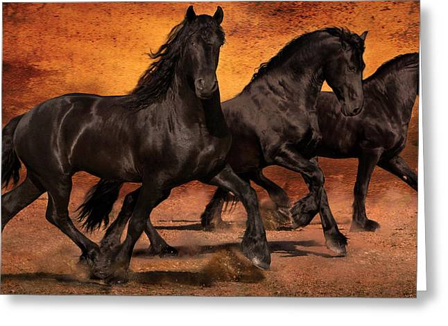 Digital Art Greeting Cards - Thundering Hooves Greeting Card by Jean Hildebrant