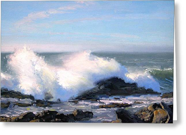 Pacific Grove Greeting Cards - Thundering Sea Greeting Card by Armand Cabrera