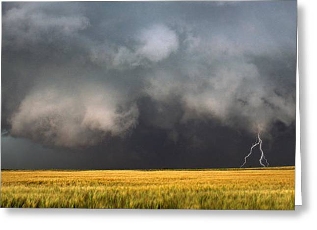 Images Lightning Greeting Cards - Thunderstorm Advancing Over A Field Greeting Card by Panoramic Images