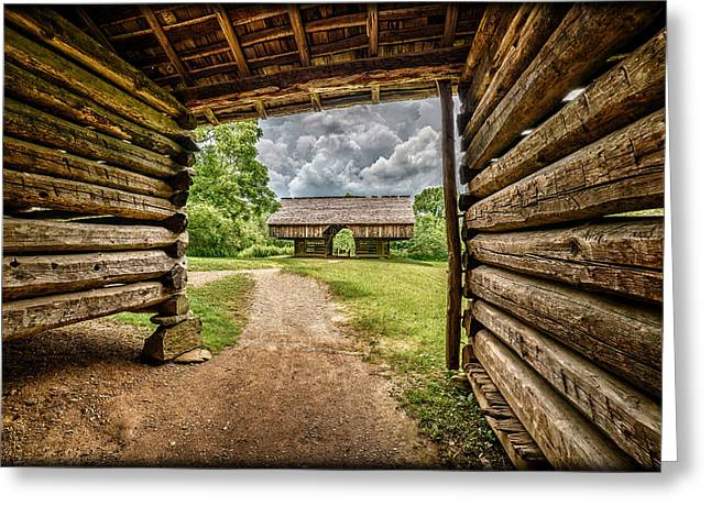 Cantilever Barn Greeting Cards - Thunderstorm Approaching Pioneer Barns E130 Greeting Card by Wendell Franks