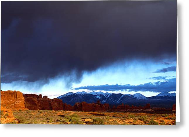Thunderstorm Greeting Cards - Thunderstorm Arches National Park Greeting Card by Panoramic Images