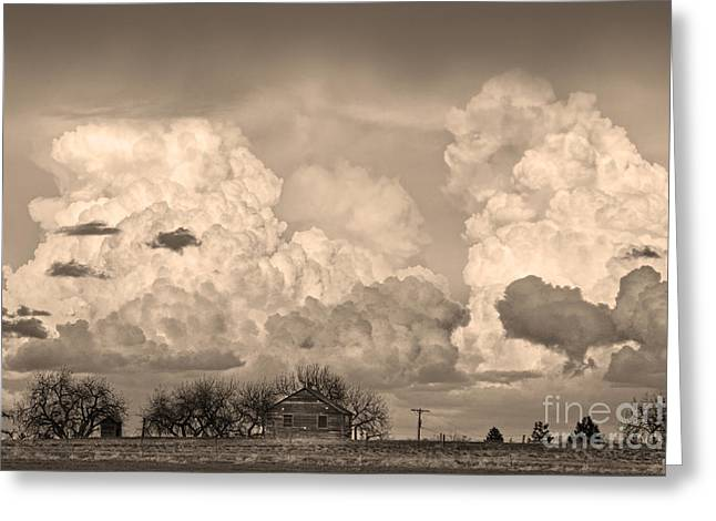 Storm Prints Greeting Cards - Thunderstorm Clouds and The Little House on the Prarie Sepia Greeting Card by James BO  Insogna