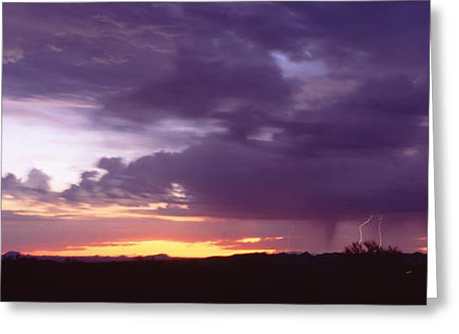 Thunderstorm Greeting Cards - Thunderstorm Clouds At Sunset, Phoenix Greeting Card by Panoramic Images