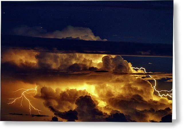 Thunderstorm From Haleakala Greeting Card by Babak Tafreshi
