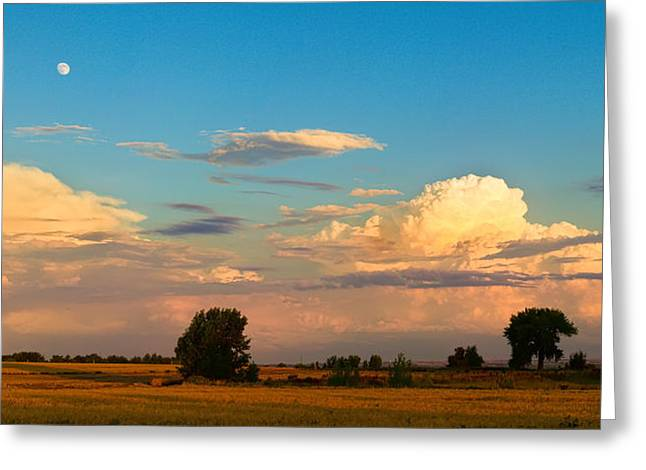 Thunderstorm Greeting Cards - Thunderstorm Front Blue Sky and Moon Panorama Greeting Card by James BO  Insogna