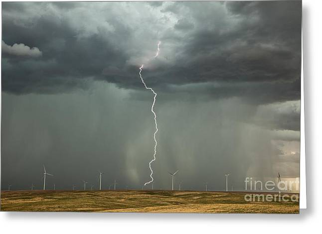 21st Greeting Cards - Thunderstorm Over A Wind Farm Greeting Card by Roger Hill