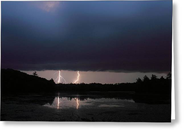 Thunderstorm Greeting Cards - Thunderstorm over Pond Greeting Card by John Burk
