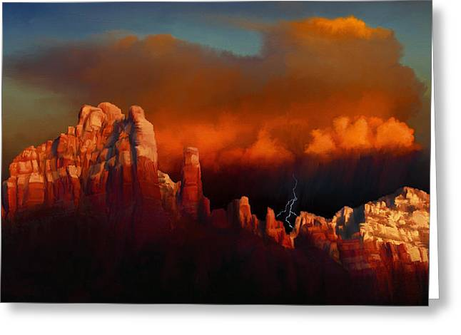 Thunderstorm Greeting Cards - Thunderstorm Over Sedona Greeting Card by Dale Jackson