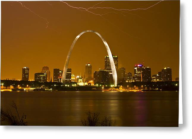 Thunderstorm over the city Greeting Card by Garry McMichael