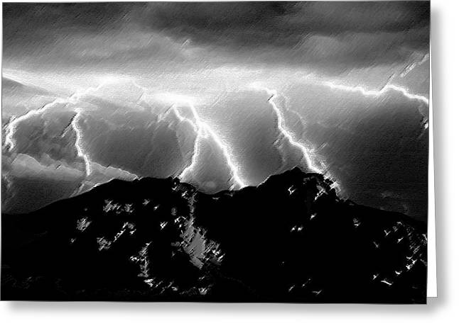 Thunderstorm Watch From Island Mount Greeting Card by MLPZ Designs MANUEL LOPEZ