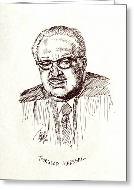 Chief Justice Drawings Greeting Cards - Thurgood Marshall Greeting Card by Art By - Ti   Tolpo Bader
