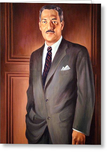Desegregation Greeting Cards - Thurgood Marshall Greeting Card by Cora Wandel
