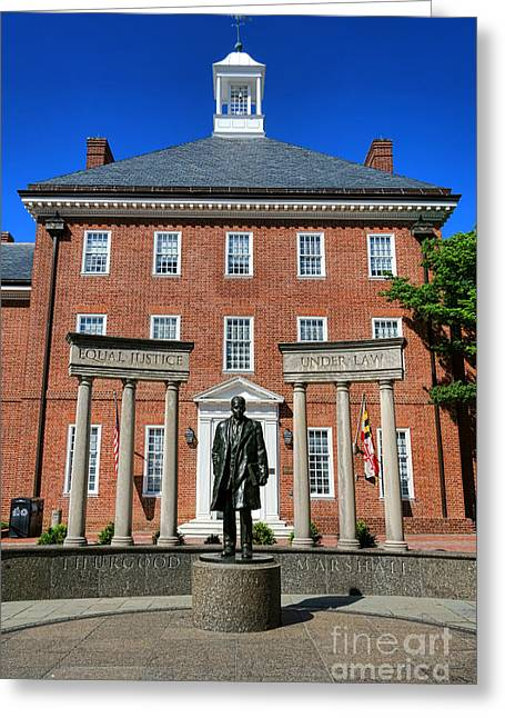Annapolis Md Greeting Cards - Thurgood Marshall Memorial Greeting Card by Olivier Le Queinec