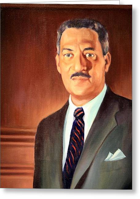 Desegregation Greeting Cards - Thurgood Marshall Up Close Greeting Card by Cora Wandel