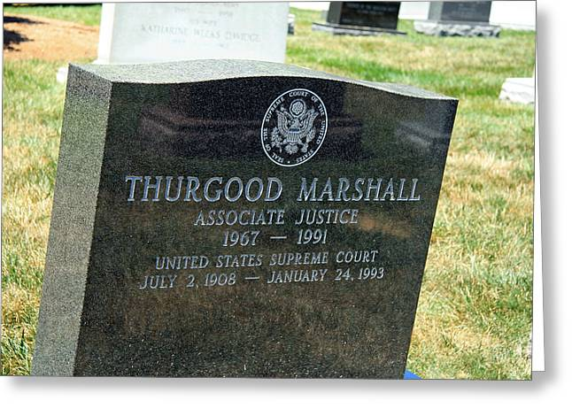 Desegregation Greeting Cards - Thurgood Marshalls Tombstone Greeting Card by Cora Wandel
