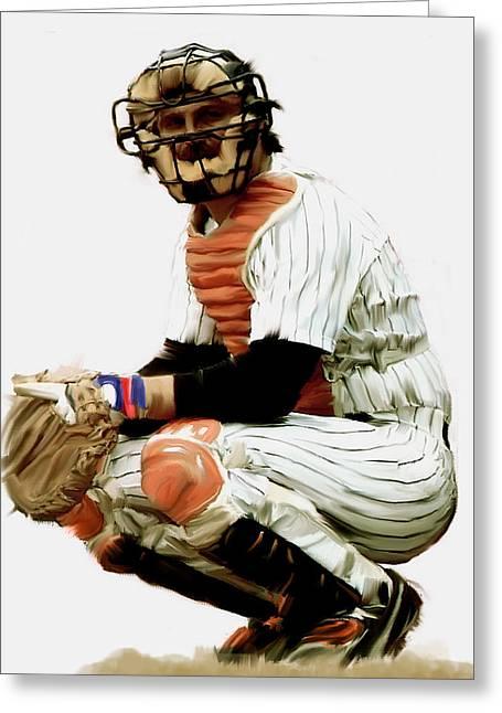 Baseball Art Drawings Greeting Cards - Thurman Munson  Greeting Card by Iconic Images Art Gallery David Pucciarelli