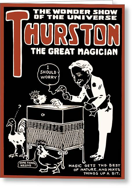 Magic Show Greeting Cards - Thurston and The Wonder Show Greeting Card by The  Vault - Jennifer Rondinelli Reilly