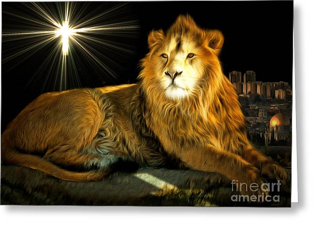 Jesus Christ Icon Greeting Cards - Thy Kingdom Come 201502113brun Greeting Card by Wingsdomain Art and Photography