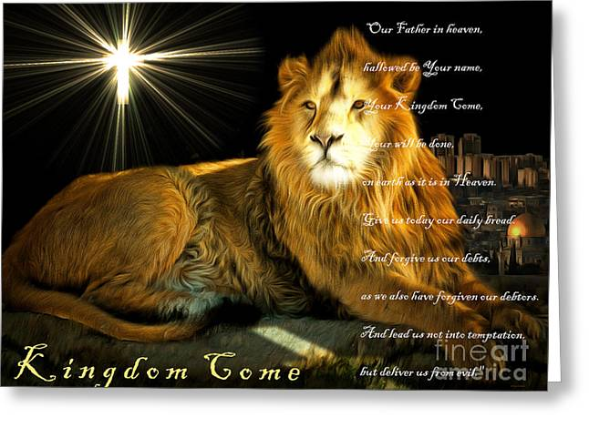 Pussy Greeting Cards - Thy Kingdom Come 201502113brun with Prayer Greeting Card by Wingsdomain Art and Photography