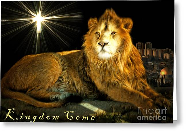 Jesus Christ Icon Greeting Cards - Thy Kingdom Come 201502113brun with text Greeting Card by Wingsdomain Art and Photography