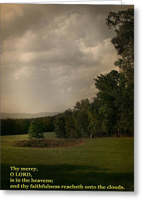 King James Version Greeting Cards - Thy Mercy Greeting Card by Nina Fosdick
