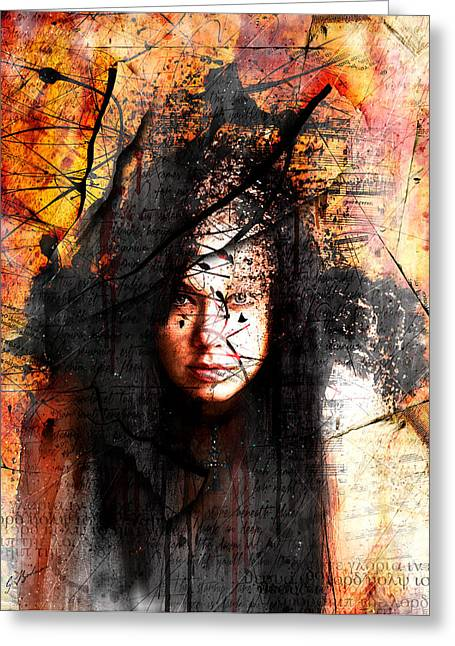 Girl Face Greeting Cards - Thy Sins Like Scarlet Greeting Card by Gary Bodnar