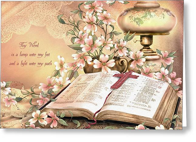 Bible Mixed Media Greeting Cards - Thy Word Greeting Card by Beverly Levi-Parker
