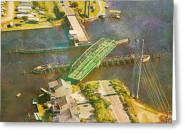 Old Roadway Greeting Cards - TI Swingin Swing Bridge Greeting Card by Betsy A  Cutler