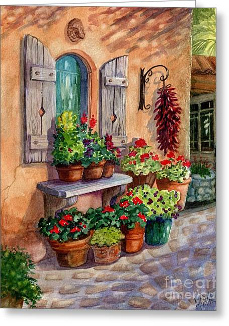 Stone Planter Greeting Cards - Tia Rosas Place Greeting Card by Marilyn Smith