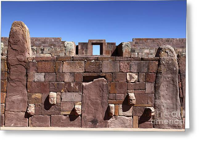 Lost City Greeting Cards - Tiahuanaco Bolivia Greeting Card by James Brunker