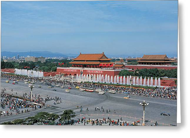 Visitors Greeting Cards - Tiananmen Square Beijing China Greeting Card by Panoramic Images