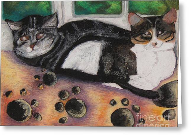 Frame House Pastels Greeting Cards - Tibet and Ringo Greeting Card by Jon Kittleson