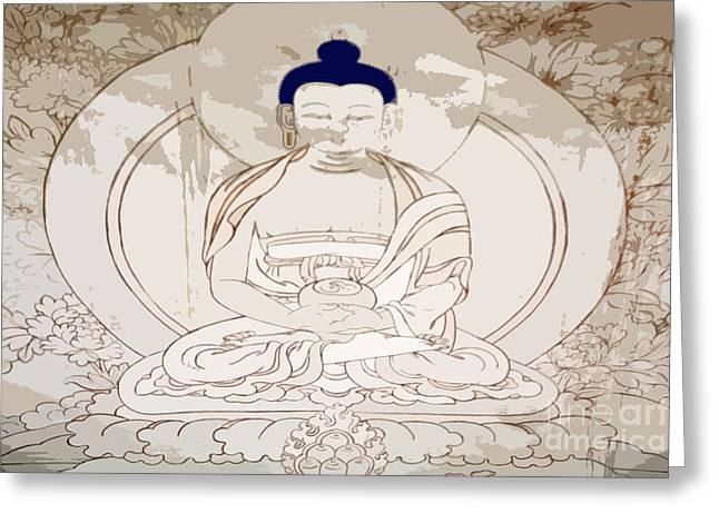 Sayme Monastery Greeting Cards - Tibet Buddha Greeting Card by Kate McKenna