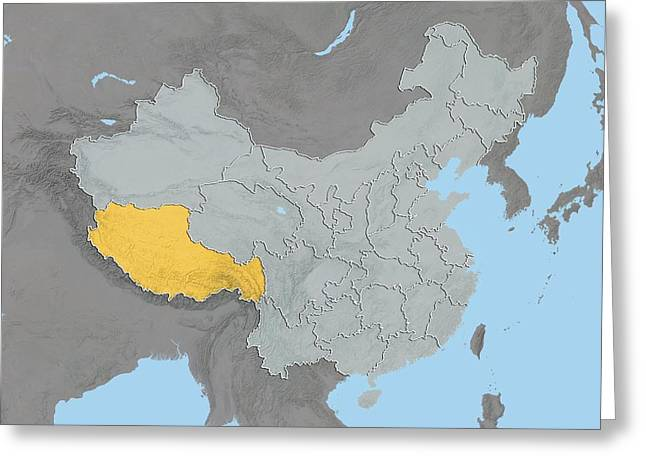 Relief Map Greeting Cards - Tibet, China, relief map Greeting Card by Science Photo Library