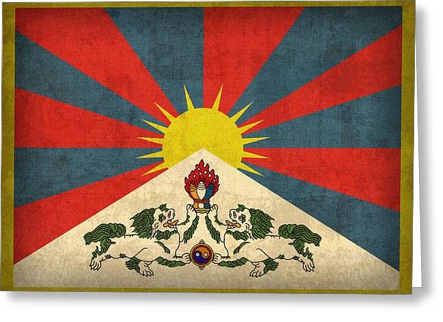 National Mixed Media Greeting Cards - Tibet Flag Vintage Distressed Finish Greeting Card by Design Turnpike