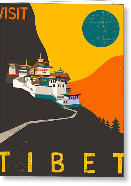 Sunset Posters Greeting Cards - Tibet Travel Poster Greeting Card by Jazzberry Blue