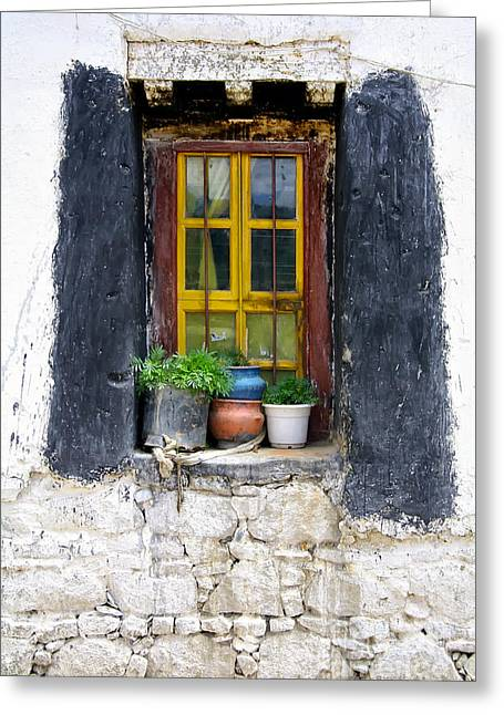 Sayme Monastery Greeting Cards - Tibet Window Greeting Card by Kate McKenna