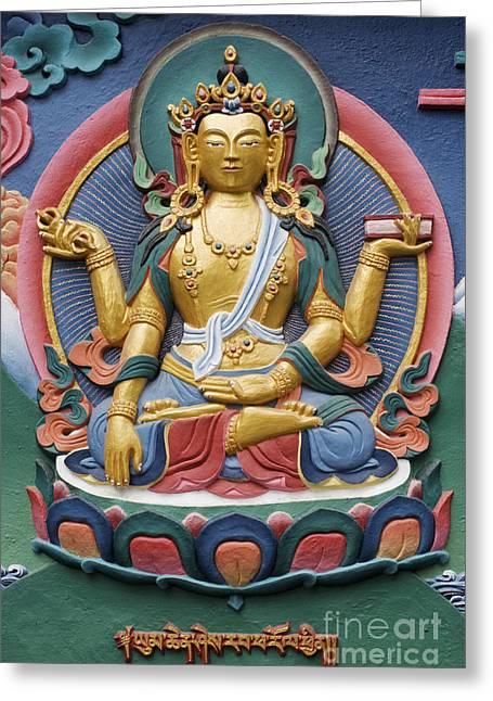 Sacred Photographs Greeting Cards - Tibetan buddhist deity Greeting Card by Tim Gainey