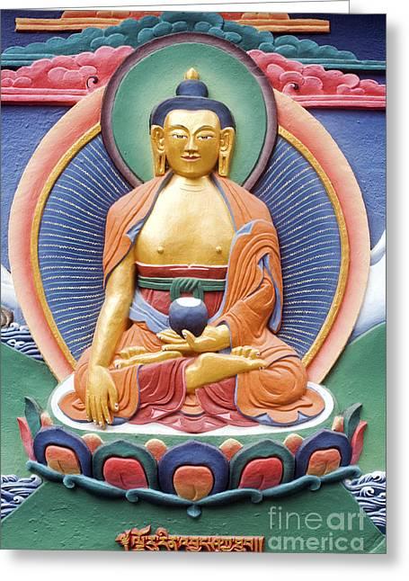 Tibetan Buddhist Deity Wall Sculpture Greeting Card by Tim Gainey