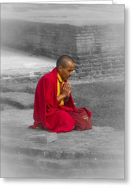 Tibetan Buddhism Greeting Cards - Tibetan Buddhist Monk Meditates Greeting Card by Justin Woodhouse