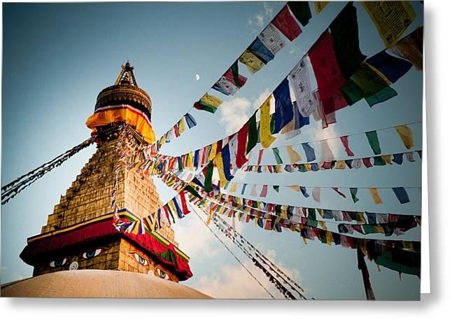 Tibetan Buddhist Prayer Flags Stupa Boudnath Greeting Card by Raimond Klavins