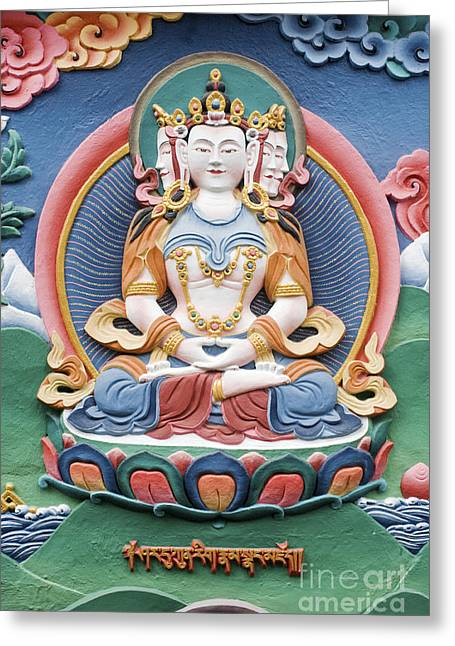 Mantra Greeting Cards - Tibetan buddhist temple deity sculpture Greeting Card by Tim Gainey