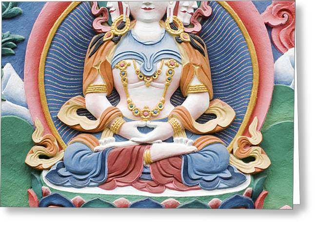 Tibetan buddhist temple deity sculpture Greeting Card by Tim Gainey