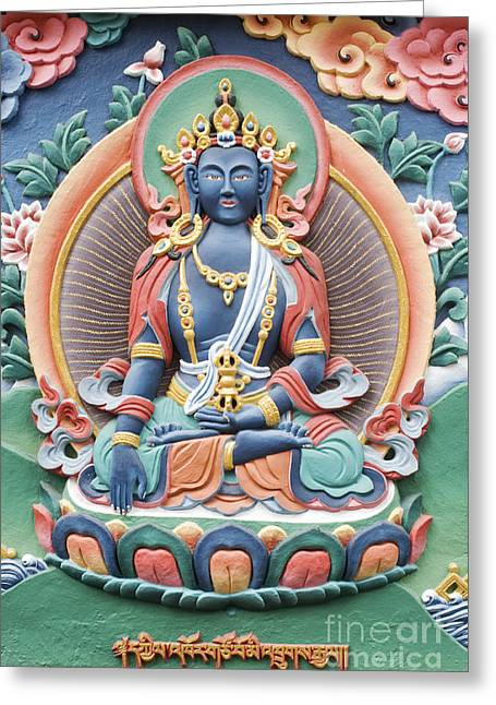 Enlightening Greeting Cards - Tibetan Buddhist Temple deity Greeting Card by Tim Gainey