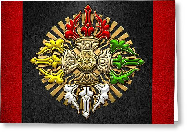 Sacred Digital Art Greeting Cards - Tibetan Double Dorje Mandala - Double Vajra on Black and Red Greeting Card by Serge Averbukh