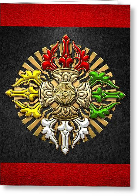 Tibetan Double Dorje Mandala - Double Vajra On Black And Red Greeting Card by Serge Averbukh