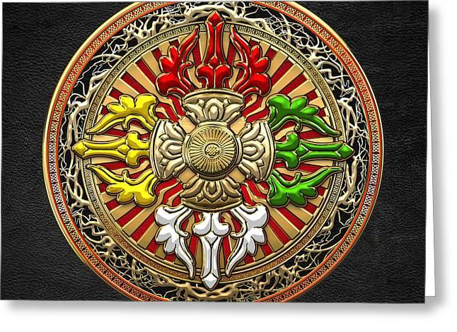 Tibetan Double Dorje Mandala - Double Vajra On Black Leather Greeting Card by Serge Averbukh