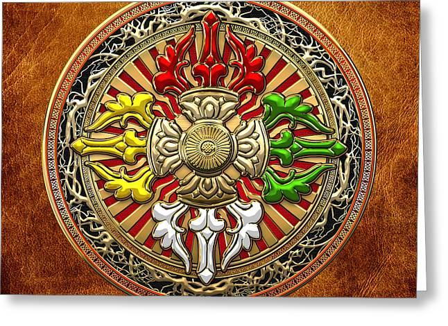 Tibetan Double Dorje Mandala - Double Vajra On Brown Leather Greeting Card by Serge Averbukh